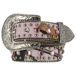 Girls Pink Camo Bling Belt