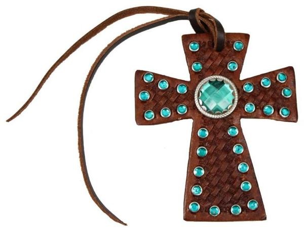 Leather tie on cross with teal green rhinestones
