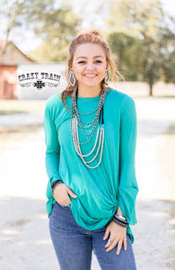 Crazy Train Knot For Long L/S Turquoise Shirt