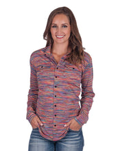 Load image into Gallery viewer, Cowgirl Tuff Colorful Stripe Faux Button Up