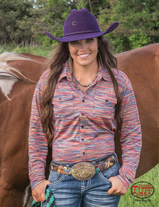 Cowgirl Tuff Colorful Stripe Faux Button Up
