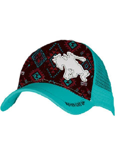 Turquoise Trucker Cap with Buckin' Horse Patch