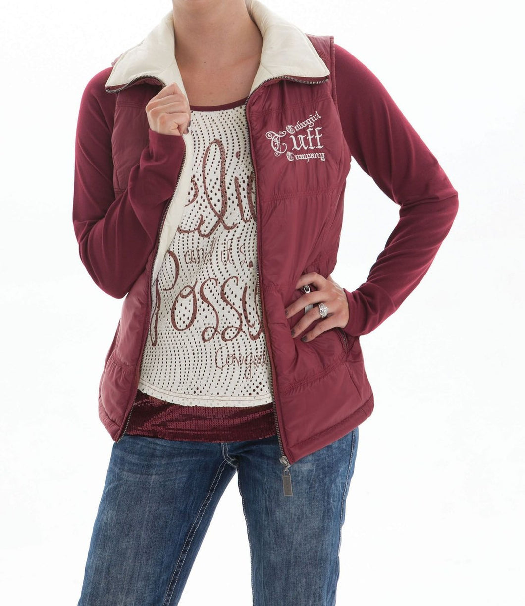 Cowgirl Tuff Ladies Burgundy and Cream Reversible Vest