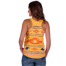 Load image into Gallery viewer, Cowgirl Tuff Yellow Aztec Racerback