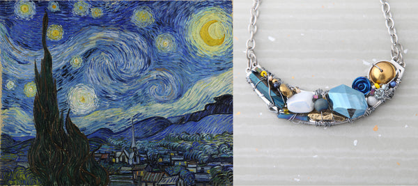 The Spring Moon: Handmade Van Gogh Inspired Jewelry