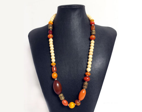 Fall Colours Resin & Cowbone Necklace