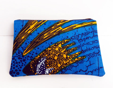 African Print Blue Make-up Bag