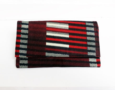 African Print Burgundy Clutch Purse