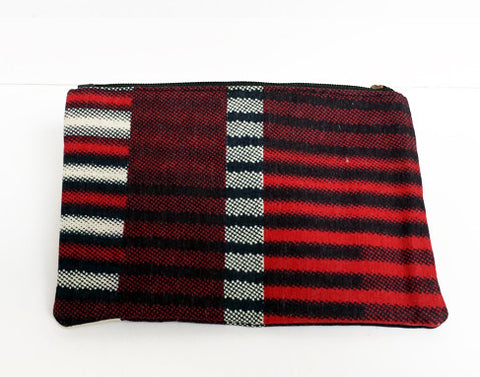 African Print Burgundy Make-up Bag