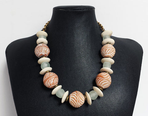 Mali Clay Beads with Glass & Cow Bone Necklace