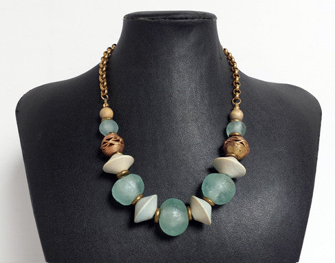 Recycled Glass Bead & Wood Bicone Necklace