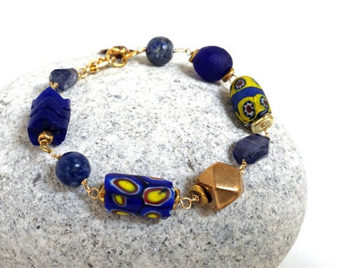 Deep Blue Trade Bead Bracelet
