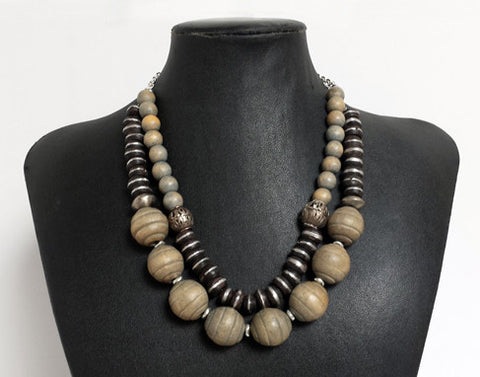 Mali Prayer Bead Necklace with Wood