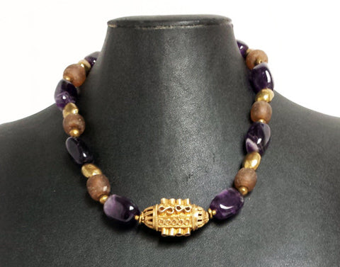 Antique Ethiopian Pendant Necklace with Amethyst