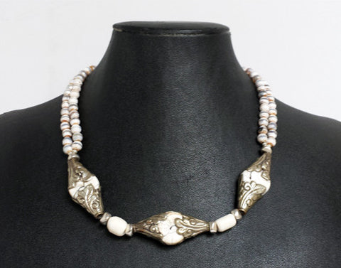Nepal Bead Necklace in White