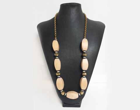 Recycled Light Pink Wood Bead Necklace