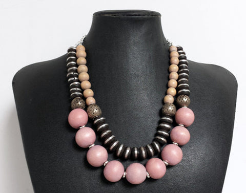 Mali Prayer Bead Necklace with Pink Wood