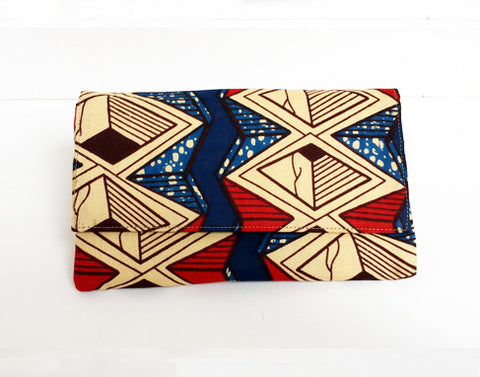 African Print Geometric Clutch Purse