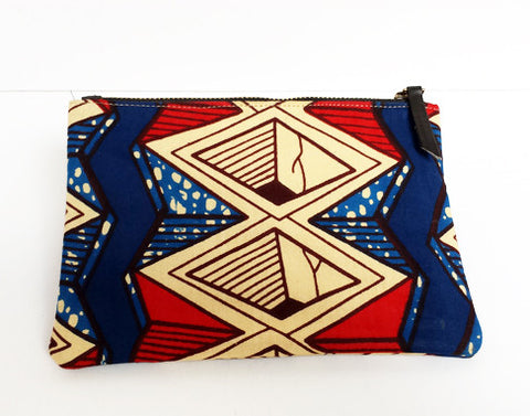 African Print Geometric Make-up Bag