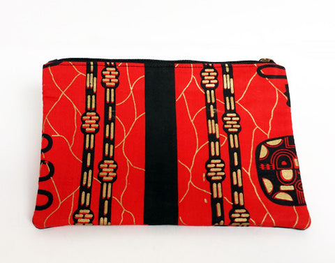 African Print Red Make-up Bag