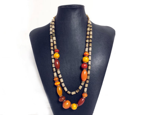 Autumn Resin & Nut Double Strand Necklace