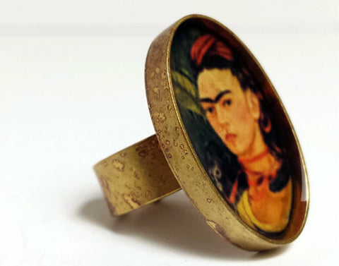 Frida Kahlo with Monkey Resin Ring