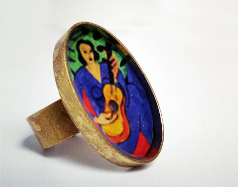 Picasso's Guitarist Resin Ring