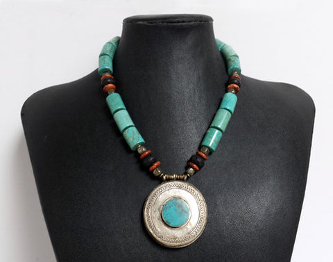 Handmade Afghan Pendant Necklace with Turquoise