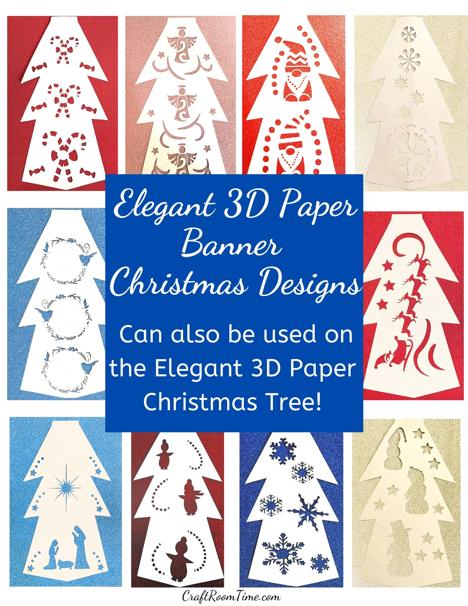 10 Holiday Banner Designs (also can be used on the Elegant Paper Christmas Tree)SVG, EPS, DXF, PNG, JPG