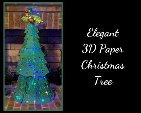Elegant 3D Paper Christmas Tree (Basic Branch Design) SVG, EPS, DXF, PNG, JPG
