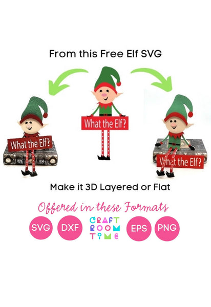 3D Sitting Christmas Elf (SVG, EPS, PNG, JPG, DXF)