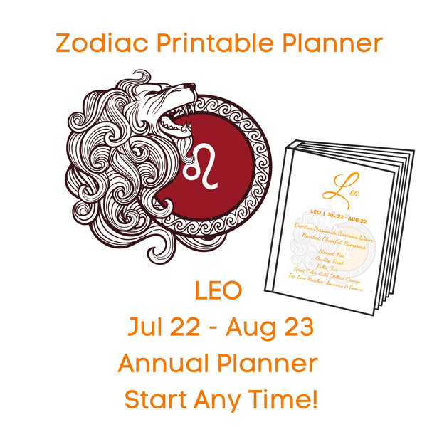 LEO Zodiac Planner Annual Start Anytime!
