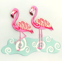 Layered Flamingos (SVG, DXF, EPS, PNG)