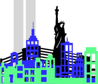 New York City with Twin Towers Layered Shadow Box File (SVG, DXF, EPS, PNG)