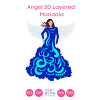 Angel 3D Layered Mandala (SVG, DXF, EPS, PNG)