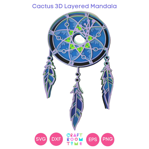 Dream Catcher 3D Layered Mandala (SVG, DXF, EPS, PNG)
