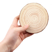 1-5in Thick Pack of Natural Pine Round Unfinished Wood Slices With Tree Bark for Crafting