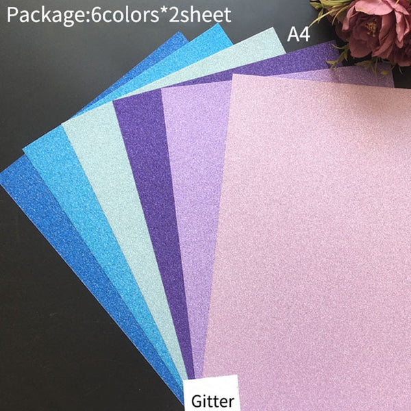 12pc Cardstock Glitter Paper for Cricut Crafts
