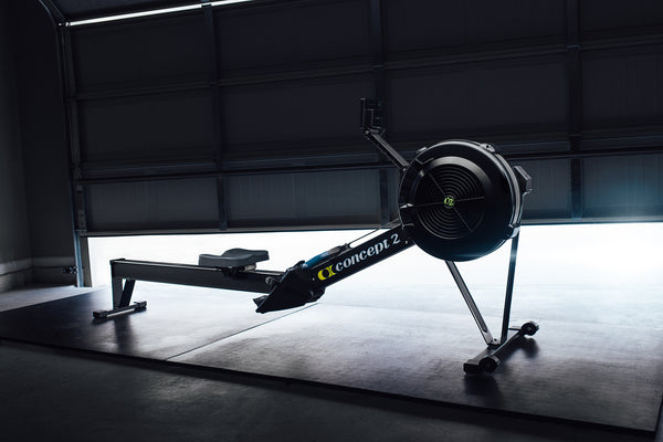Concept 2 model D rowing machine in a garage