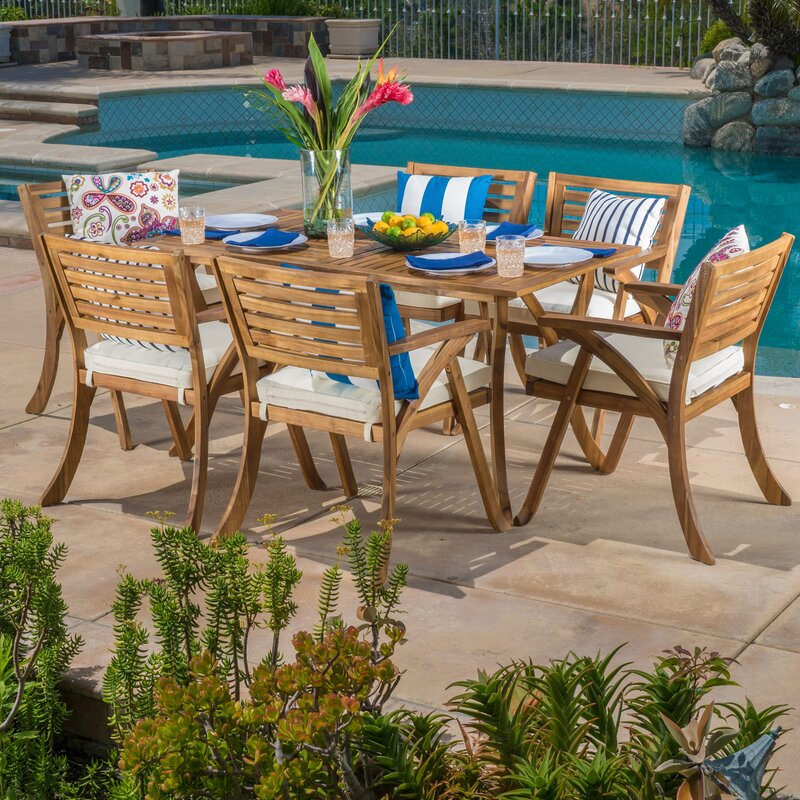 Coyne 7 Piece Teak Dining Set With Cushions Gmn Merchandise