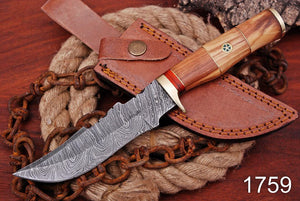 Damascus Steel Hunting Knife Brass Guard with Olive wood Handle-AJ-1759