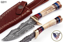 Load image into Gallery viewer, Custom Hand Forged Damascus Hunting Knife Stag Handle brass guard- Q-311