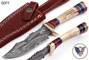 Custom Hand Forged Damascus Hunting Knife Stag Handle brass guard- Q-311
