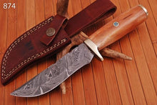 Load image into Gallery viewer, Custom Hand Forged Damascus Hunting Knife Bone & Brass Guard Handle-AJ 874