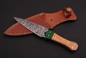 Custom Hand Forged Damascus steel Dagger hunting knife with olive wood handle-AJ 804
