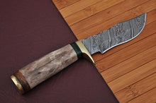 Load image into Gallery viewer, Damascus Hunting Knife Handle olive wood and brass guard -AJ 751