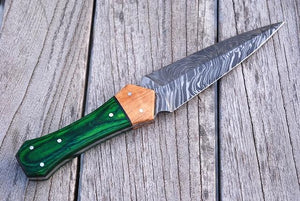 Damascus steel Dagger hunting knife with wood handle-AJ 800