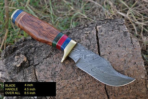 Custom Hand Forged Damascus steel Hunting Knife with Rose Wood & Brass guard Handle -AJ 863