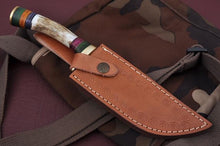 Load image into Gallery viewer, Custom Hand Forged Damascus steel Hunting Knife Stag Handle brass guard-AJ 762