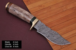 Damascus Hunting Knife Handle olive wood and brass guard -AJ 751